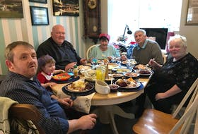 Glenn Ringer, front, sits at the head of the table during a Christmas dinner with his family in Consett County Durham in 2017. With him are, clockwise from Glenn, his daughter Eva, John Dunn, Jean Ringer, Keith Ringer and Marjorie Dunn. CONTRIBUTED