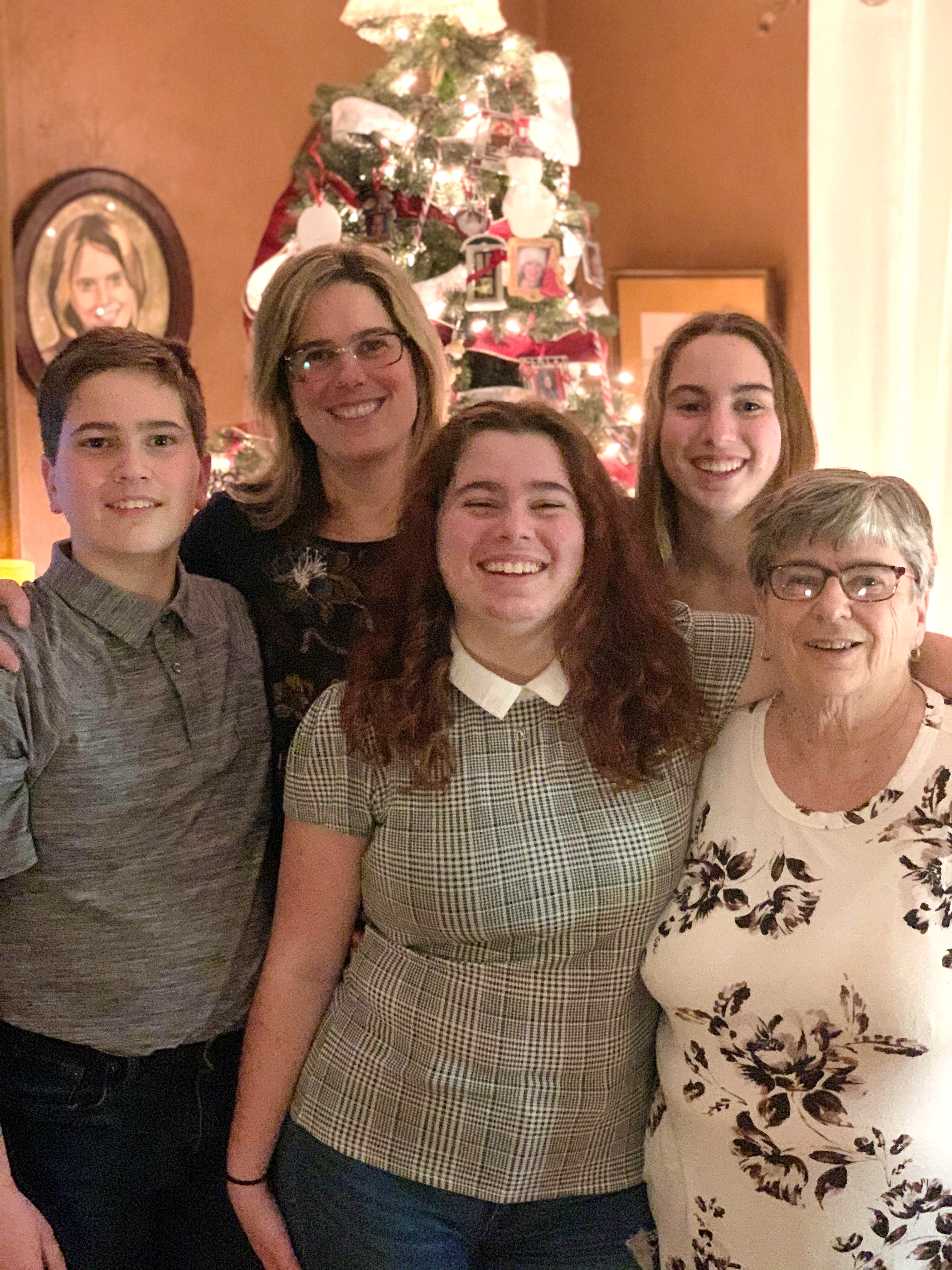 Claudette Cramm, right, stands with her daughter, Kimberley Studer, and her grandchildren, back row Séamus and Deirdre, and front row Aisling.