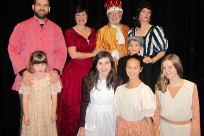 The cast of Cinderella includes, in front, from left, Kaela Biro , Erinn Nafthal and Nicole Grass. In the middle row are Mya Conner and Payton Mills. In back are Adam Conner, Thea Burton, Ray Baltzer, and Sherry Bishop., while kneeling in front are:Kaela Biro , Erinn Nafthal, and Nicole Grass.