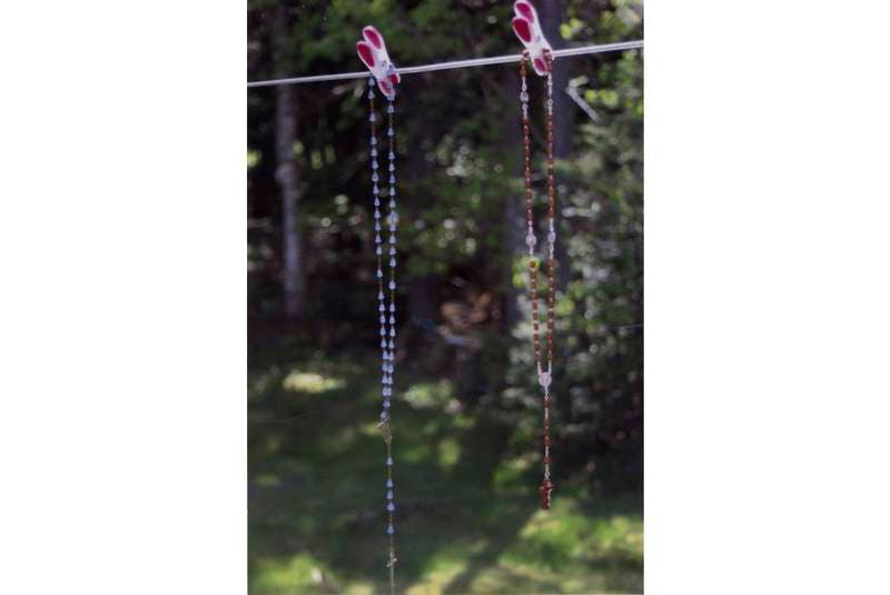 On May 19, 2012, Andrea Jerrett married her best friend John in Pictou, N.S. Her mom hung Andrea's great-grandmother's rosaries on the clothesline the night before the wedding. The weather was perfect.
