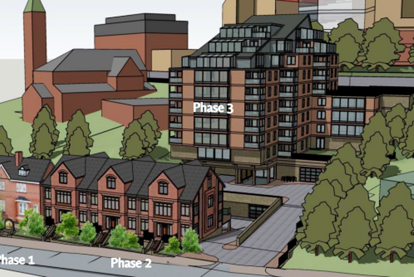 This architectural rendering shows the most recent design for the proposed high-end residential development on Queen's Road. -COMPUTER SCREENSHOT