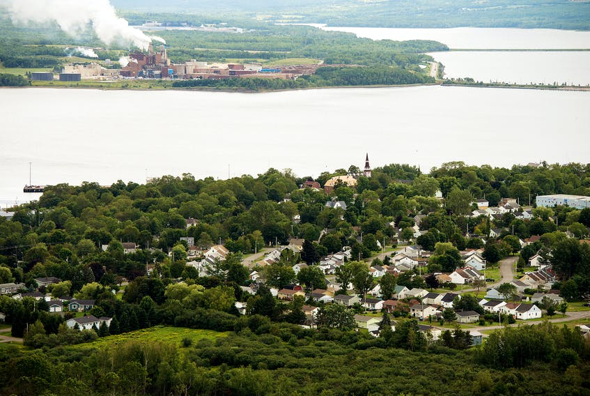 An aerial view of the Town of Pictou, with the Northern Pulp mill across the harbour. August 21, 2014.