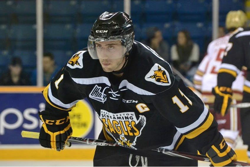 Cape BretonScreaming Eagles captain Clark Bishop missed 30 games this past Quebec Major Junior HockeyLeague season due to an ankle injury that put him on the shelf twice. The St.John's native is a Carolina Hurricanes' prospect and will attend the team's development camp in Raleigh, N.C., next month.