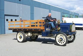 Paul Carter at the wheel of his newly restored 1909 Packard three-ton truck – the oldest known Packard truck.— Alyn Edwards