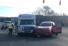 In this November 2019 photo, a Wheelway bus and a Steele Mazda customer shuttle collided at the intersection of Thorburn Road and Goldstone Street. It's one of many that have happened at that intersection, which the city has identified as having the most collisions resulting in injuries. TELEGRAM FILE PHOTO