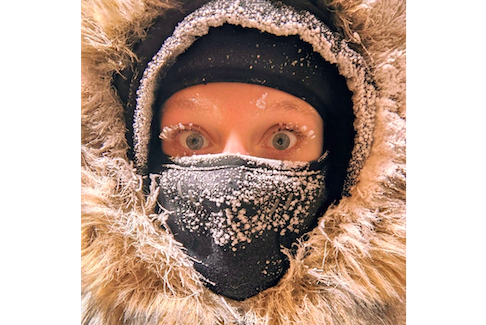 """Good friends of Cindy Day's made the adventurous and courageous move to Cambridge Bay, Nunavut, last summer. The cold does not keep Laurel and David Garrison indoors because they have the right clothing and the right attitude.  Laurel calls this photo """"Arctic mascara."""""""