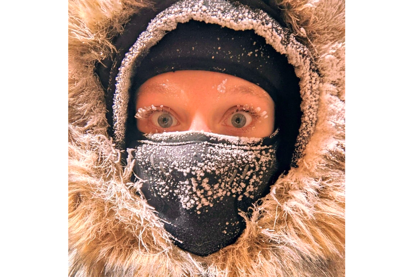 "Good friends of Cindy Day's made the adventurous and courageous move to Cambridge Bay, Nunavut, last summer. The cold does not keep Laurel and David Garrison indoors because they have the right clothing and the right attitude.  Laurel calls this photo ""Arctic mascara."""