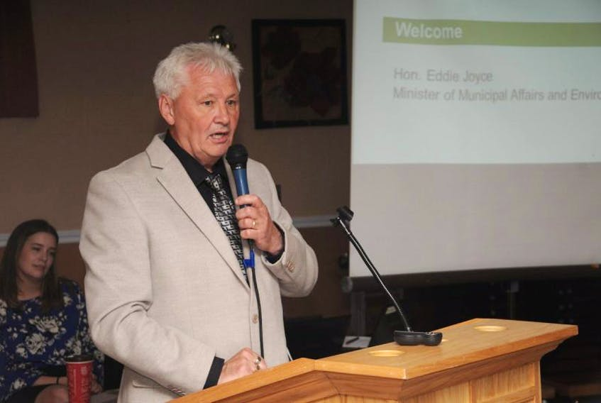 Municipal Affairs Minister Eddie Joyce briefly addressed attendees of a consultation session in Carbonear about adopting forms of regional government in Newfoundland and Labrador.