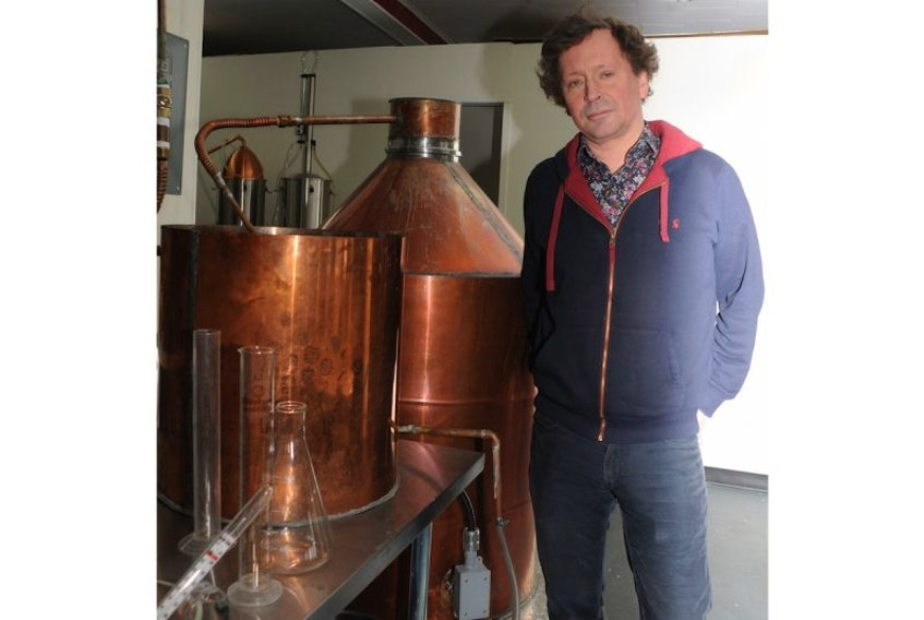 Peter Wilkins, pictured, and his business partner Bill Carter will soon be selling gin, vodka and aquavit distilled in Clarke's Beach.