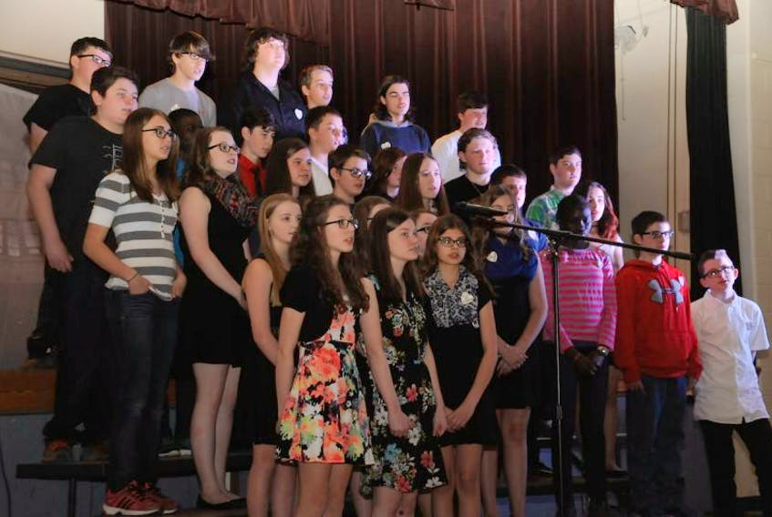"""Grade 8 students from Baccalieu Collegiate perform the song """"Save Myself"""" during Tuesday's Hero Celebration."""