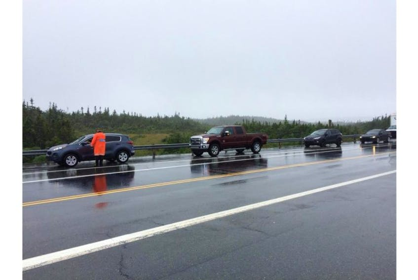 Motorists were being told to takes the exit leading to Makinsons Monday afternoon due to a serious two-vehicle accident.