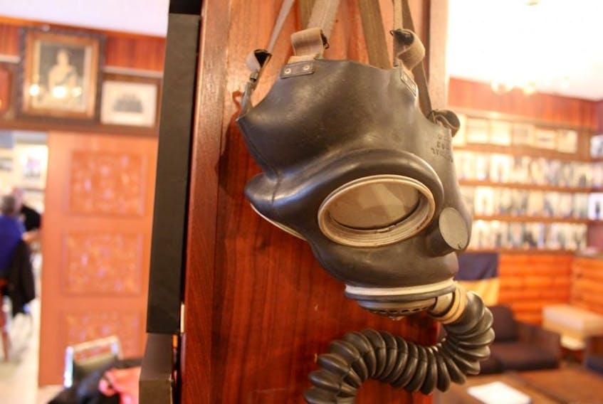 A Second World War-era gas mask on display.