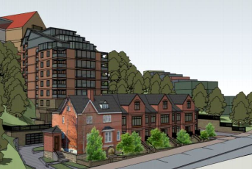 An architectural rendering included in the developer's land use assessment report shows the townhouses along Queen's Road in the foreground, the 10-storey residence tower behind that along Harvey Road, and The Rooms' roof visible in the background. -COMPUTER SCREENSHOT