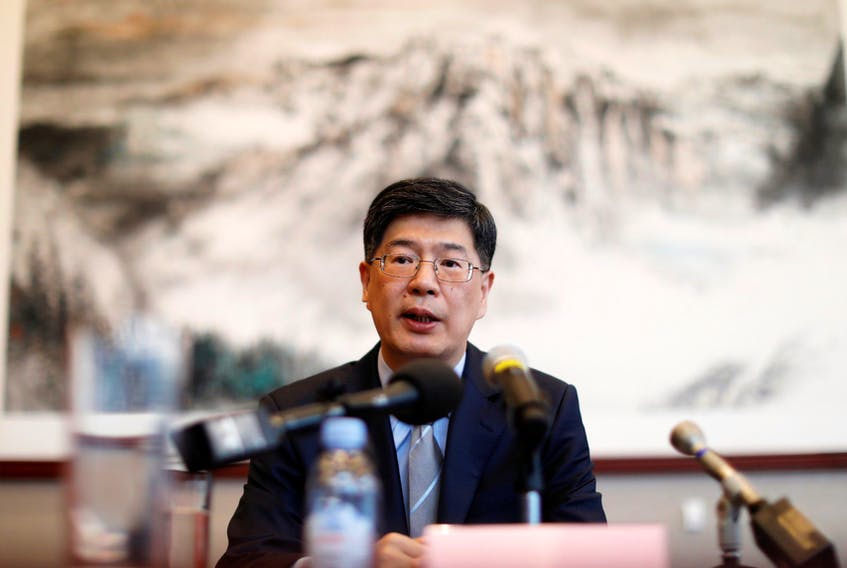 China's new ambassador to Canada Cong Peiwu speaks during a news conference for a small group of reporters at the Chinese Embassy in Ottawa, Canada November 22, 2019.