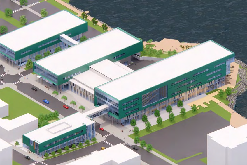 A conceptual drawing of the new Nova Scotia Community College Marconi Campus on the Sydney waterfront. Construction will begin this month on the new project, which is anticipated to be an anchor in the city's downtown core. PHOTO/NOVA SCOTIA GOVERNMENT