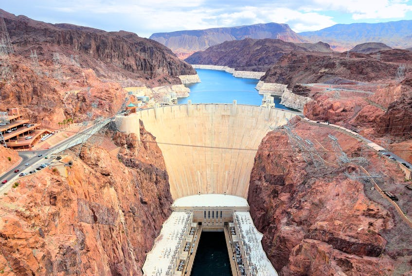 Hoover Dam hydroelectric power station on the border of Arizona and Nevada. Stock Image