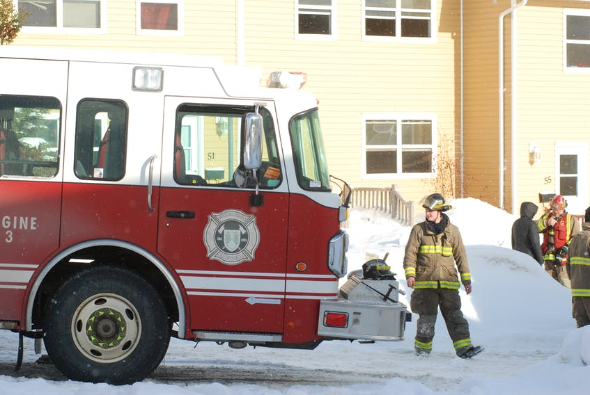 The Corner Brook Fire Department responded to an apartment fire on Beothuk Crescent Thursday morning. STEPHEN ROBERTS / THE WESTERN STAR