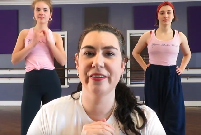 """Amy Andrews of Dance Studio West in Corner Brook has started a social dancing project. She's sharing instructional videos via her The Dancing Mommy YouTube channel to a number she's choreographed for the song """"Dance Monkey"""" by Tones and I. Helping Andrews out in the videos are (back) Anna Barrett, left, and Kate Sanders."""