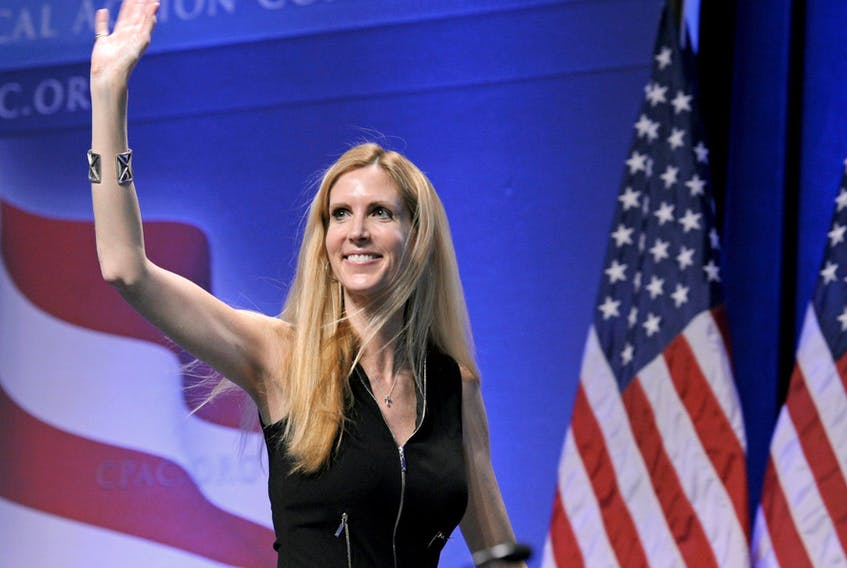 Ann Coulter waves to the audience after speaking at the Conservative Political Action Conference (CPAC) in Washington.