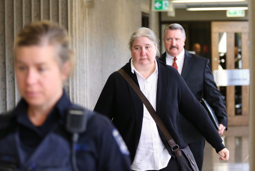 Halifax Regional Police special constables Cheryl Gardner and Dan Fraser leave Nova Scotia Supreme Court during a break at their jury trial on a charge of criminal negligence causing death, in Halifax on Monday, Oct. 28, 2019.