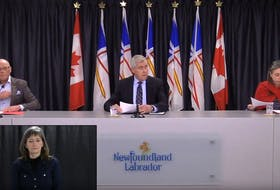 (From left) Health Minister John Haggie, Premier Dwight Ball and chief medical officer Janice Fitzgerald give a video update on COVID-19 in St. John's Wednesday. SCREEN GRAB