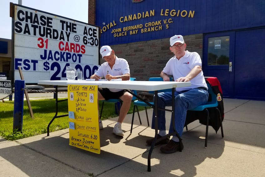 In this file photo from July 2019, Bob Mounce, left, and Bill McCann sit outside John Bernard Croak Elementary School  selling tickets for the Glace Bay Legion's first Chase the Ace fundraiser, which raised $218,000. The legion is currently holding its second Chase the Ace fundraiser but is unsure how they're going to conduct the weekly draw now that COVID-19 precaution measures are in effect in Nova Scotia. CAPE BRETON POST PHOTO