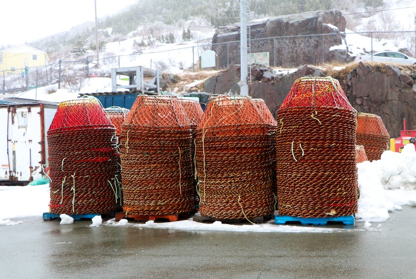 Crab pots stacked at Prosser's Rock boat basin on the southside of St. John's harbour this week. The fishery has been delayed to at least April 20. Glen Whiffen/The Telegram - Saltwire