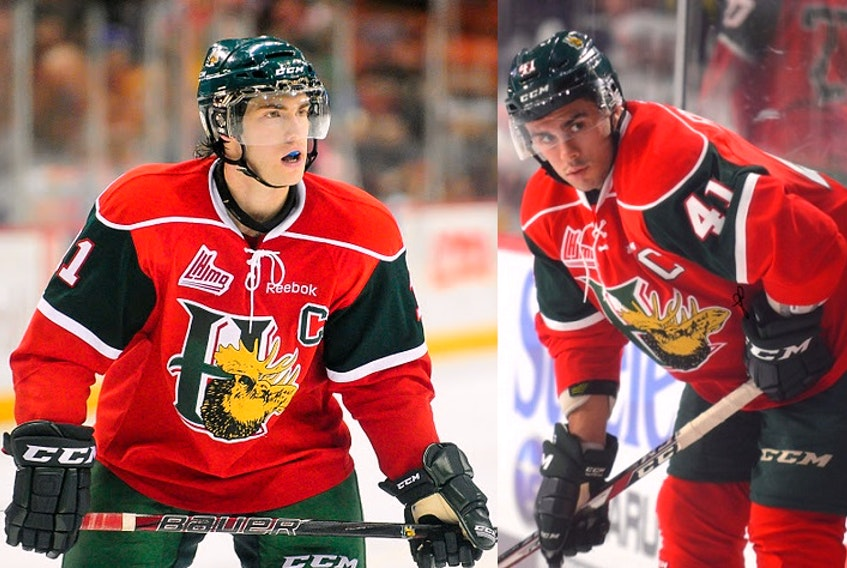 Former Halifax Mooseheads captains Cameron Critchlow, left, and Maxime Fortier, right, signed to play professional hockey in Britain in the Elite Ice Hockey League's upcoming Elite Series.