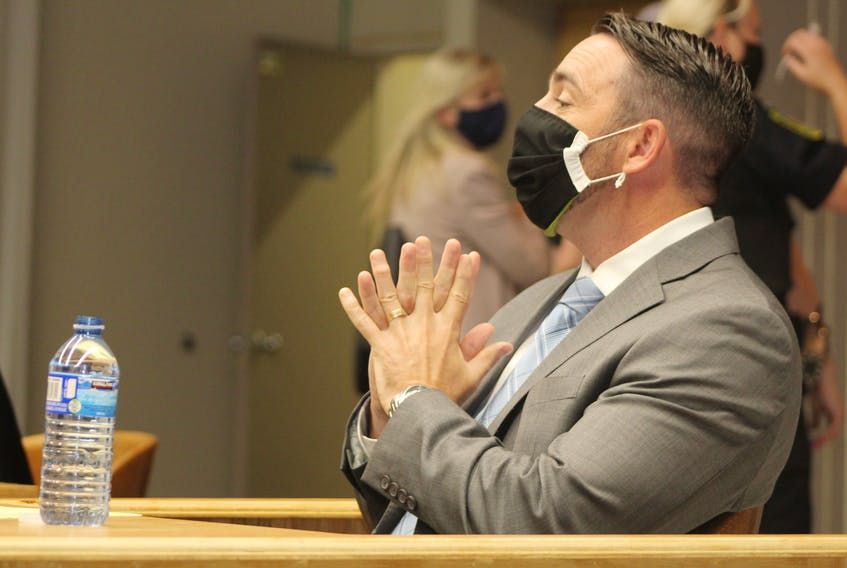 RNC Const. Doug Snelgrove in the courtroom at the start of his trial in St. John's last week. Snelgrove, 43, is charged with sexually assaulting a woman while he was on duty in December 2014. He is expected to testify today.