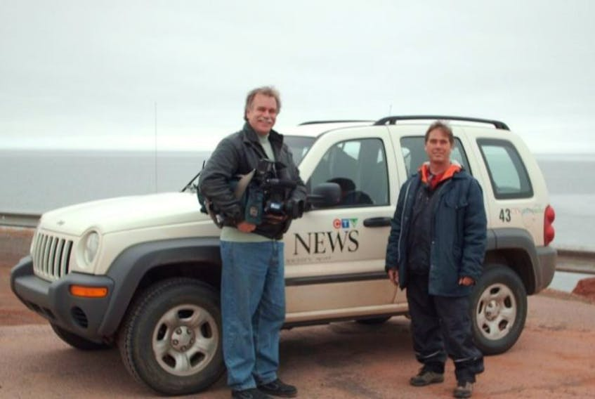Dan Viau, the face of CTV in Prince Edward Island, poses for the camera with Brian Ellis during Ellis's walk in support of the Kidney Foundation. CTV has shutdown its P.E.I. bureau, saying it will try to cover P.E.I. from Moncton
