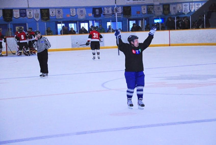 <p>CTV Nostars captain Cyril Lunney celebrates his team's 9-6 win over Digby's Team 911 Saturday, March 2.</p>