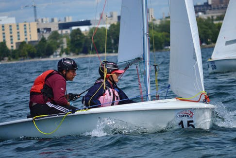 Sea cadets Nicholas Kelly and Yvonne Snow are shown competing at the recent Kingston National Regatta.