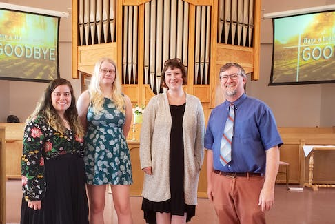 Kathleen Lane, left, bassoon, ukulele, and voice, Katherine Cassidy, flute, and Hillary Manchester, flute and vocals, provided live music at Knox United Church in Lower Sackville where John Lindsay-Botten serves as the director of music and dramatic arts. The church is becoming a popular music venue hosting talent from the Bedford Brass Quintet to the Men of the Deeps.