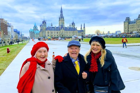 This picture of MP Lenore Zann and her parents in Ottawa appeared on the front of the Christmas card she sent to constituents in December. From left, Janice, Paul and Lenore Zann. FRAM DINSHAW/TRURO NEWS
