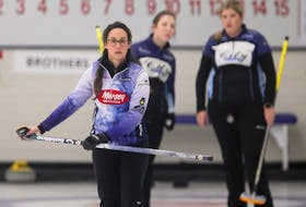 Jill Brothers is seen during action against Theresa Breen at the Nova Scotia Scotties Tournament of Hearts at the Dartmouth Curling Club in January. - TIM KROCHAK