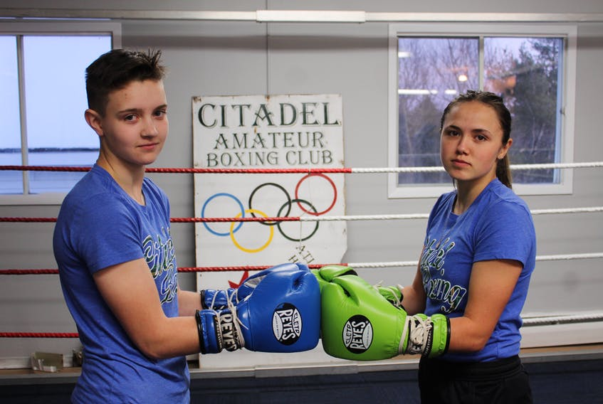 Citadel Boxing's Sadie Allen, left, and Sierra Eshouzadeh, both of Beaver Bank, are off to Atlanta, Ga. to compete at an all-female boxing tournament. The two have been training hard at Citadel's facility in Lower Sackville. They are coached by Wayne Gordon. Pat Healey photo