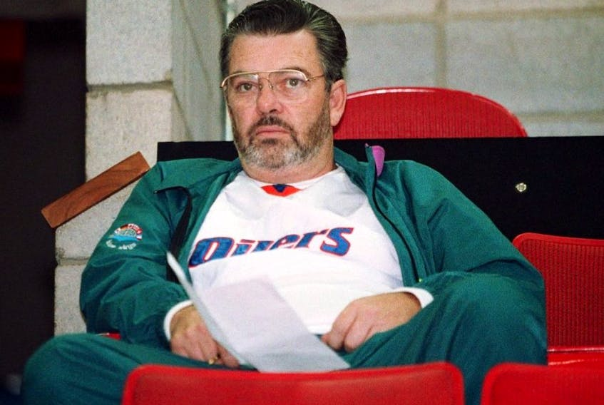 Oilers scout Barry Fraser sits in the stands at the Northlands Coliseum circa 1990.