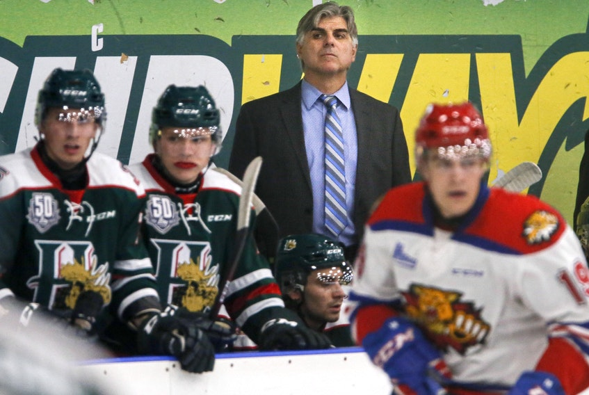 Halifax Mooseheads head coach J.J. Daigneault watches his team during a game against the Moncton Wildcats. (TIM KROCHAK/Chronicle Herald)