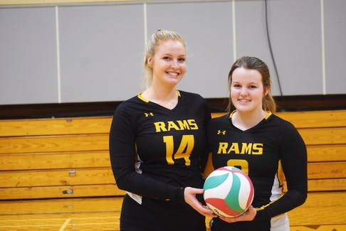 Samantha Nichols, left, and Jillian Ferguson are co-captains of the Dal AC Rams female volleyball squad. The team has made the Atlantic Collegiate Athletic Association quarter-finals for the first time in six years. FRAM DINSHAW/TRURO NEWS