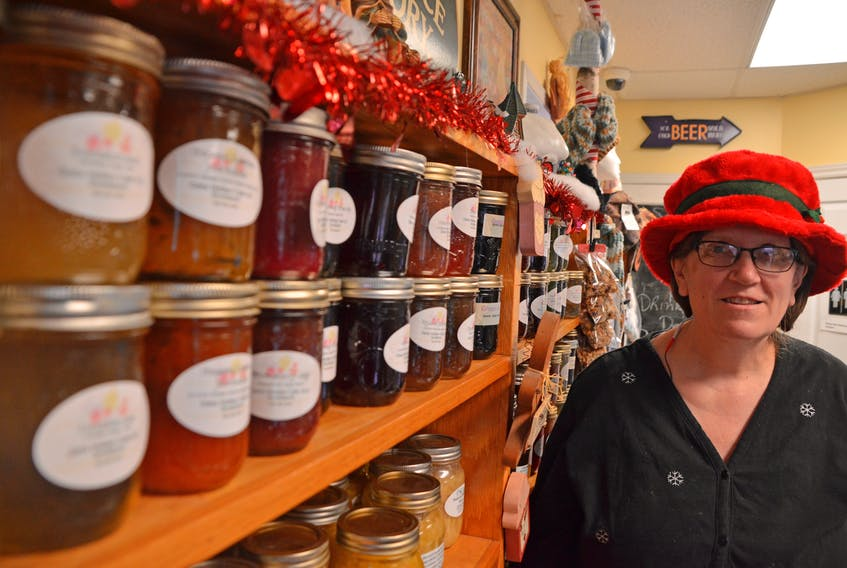 Deb Sangster, owner of Deb's Hidden Cafe in Scotsburn, with some of her 55 flavours of homemade jams and jellies. (AARON BESWICK PHOTO)