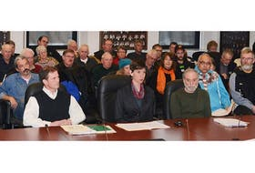 <span>Front, from left, Boyd Allen, Catherine O'Brien, and Don Mazer of the Coalition for the Protection of P.E.I. Water make a case against lifing the moratorium on deep-well irrigation to a provincial standing committee Thursday, Feb. 27, 2014. <br /></span>