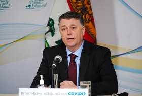 P.E.I. Premier Dennis King speaks at a media briefing concerning the COVID-19 pandemic in this Government of P.E.I. file photo.