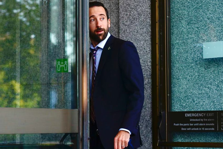 Conservative MP Derek Sloan arrives at a meeting in Ottawa on Sept. 22, 2020. Conservative leader Erin O'Toole is seeking a vote on ejecting Sloan from caucus after left-leaning outlet Press Progress reported on Monday that Paul Fromm, a notorious white supremacist, had donated to Sloan's leadership campaign.