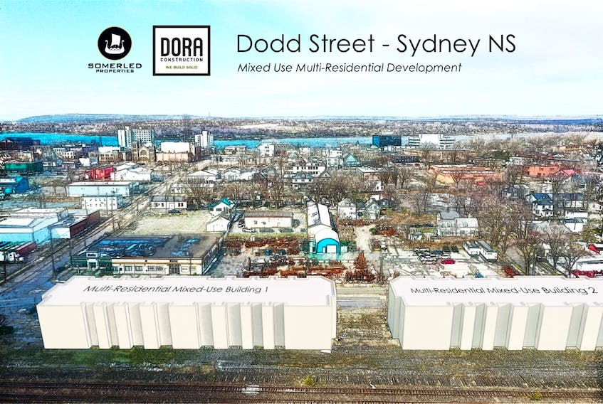 A visual image depicting where Somerled Properties/DORA Construction will be constructing new multi-residential and mixed-use buildings on the site of the former train station on Dodd Street in Sydney. The site highlights the prime location, on the edge of the heart of the downtown, backdropped by Sydney harbour. CONTRIBUTED/DORA Construction