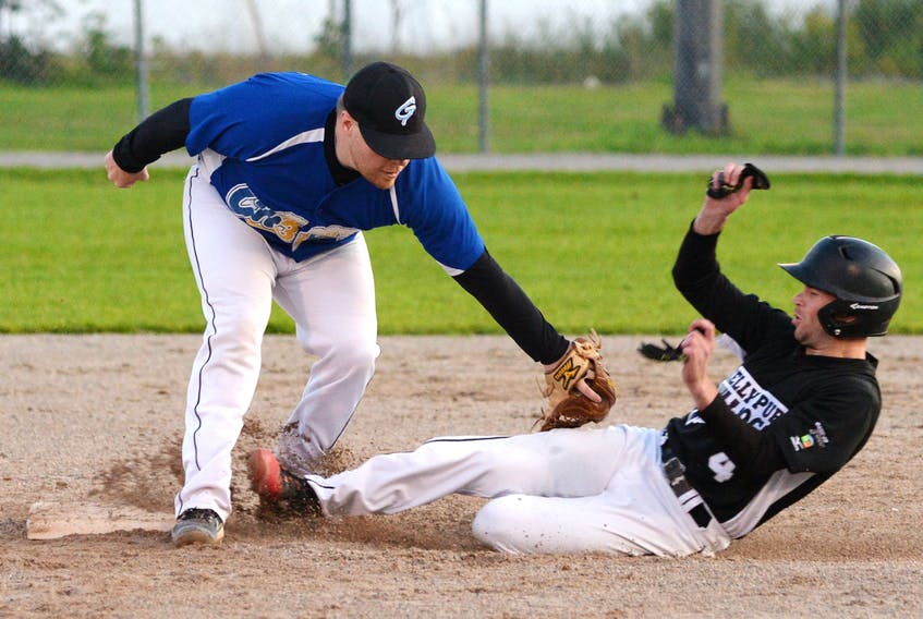 In this Sept. 22, 2019 file photo, Daniel Dalton of Kelly's Pub Molson Bulldogs is tagged out by 3Cheers Bud Light Dodgers second baseman Kyle Ezekiel during a St. John's Molson senior men's playoff game at Lions Park. With guidelines related to COVID-19 clarified for sports in the province finalized, the St. John's softball league is set to start its 2020 season this week.