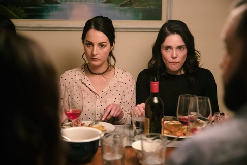 """""""Little Orphans"""" writer Emily Bridger (left) also appears onscreen, playing the role of Gwen, one of three sisters coming back to Newfoundland for a wedding and a rocky family reunion. Rhiannon Morgan (right) plays Kay."""