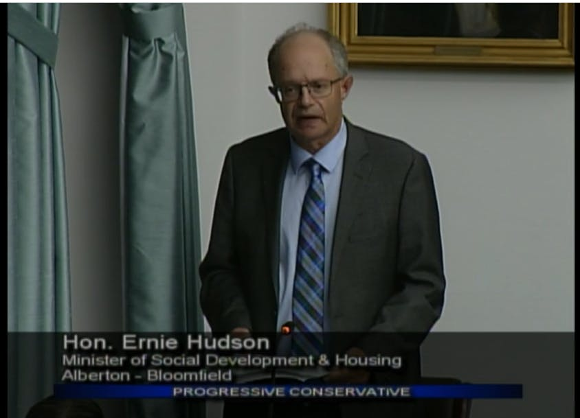 Social Development and Housing Minister Ernie Hudson speaks before the legislature on Thursday. Hudson confirmed that the province's  AccessAbility Advisory Council has not met since 2018.