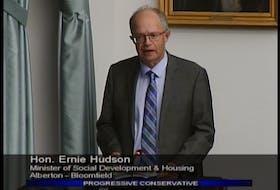 Social Development and Housing Minister Ernie Hudson speaks before the legislature on Thursday. Hudson confirmed that the province's  AccessAbility Advisory Council has not met since 2018.