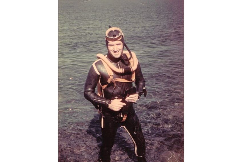 Hugh Lilly in his diving gear. Lilly took part in the first diving expedition to reach the bottom of the Grand Banks. — Submitted photo