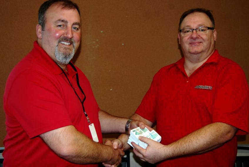 <p>Riverside Elementary principal Peter Hackett and Shawn Hart of Donnini's Pizza and Donairs. Hart dropped off 750 free slice cards at the elementary school today.</p>